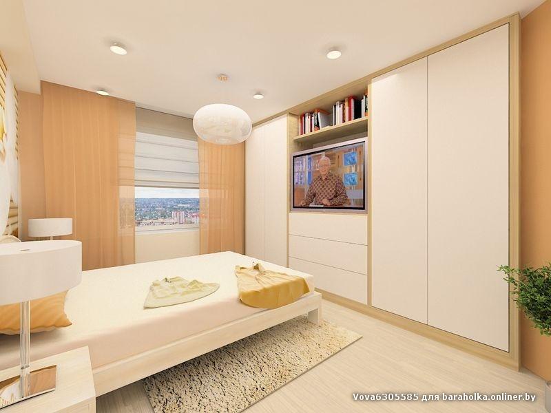 Дизайн интерьера спальни 18 квм со шкафом купе.