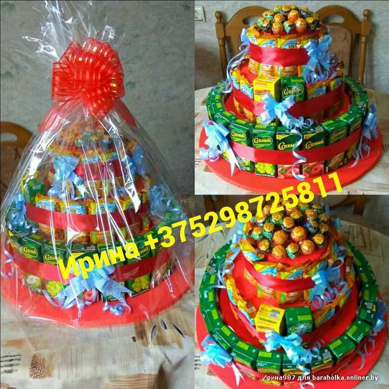 Детский торт из сока и конфет как сделать пошагово
