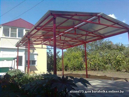 Односкатная крыша из поликарбоната чертежи и фото