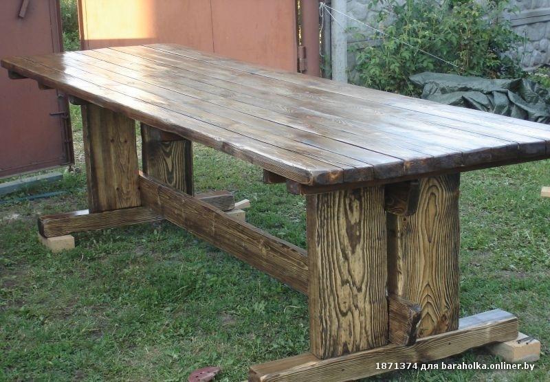 Деревянные столы на дачу своими руками