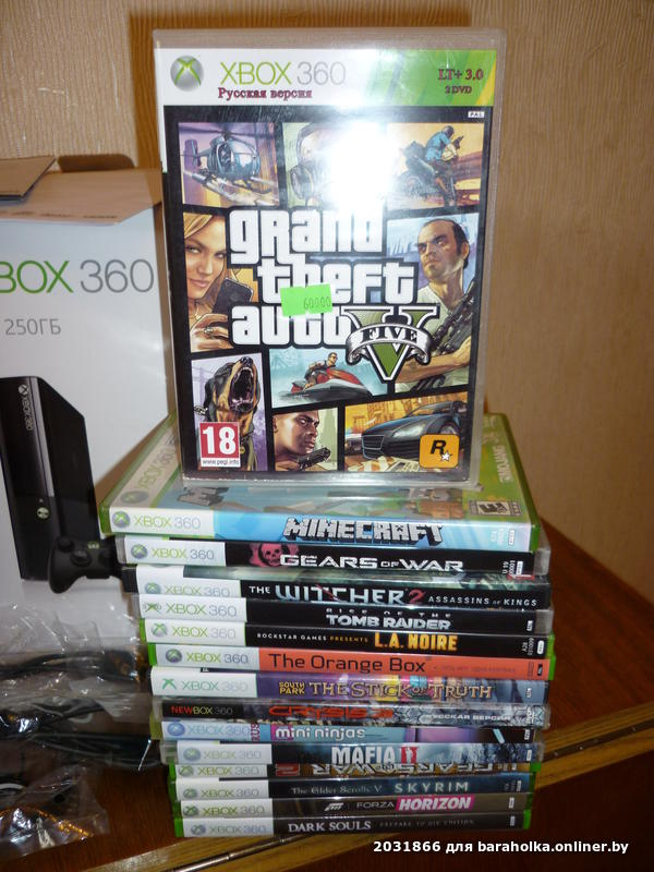 545 $ - xbox 360 e 250gb + прошивка freeboot + kinect + 2 геймпада + 25 игр