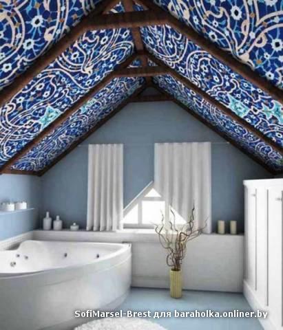 Потолок из ткани на даче