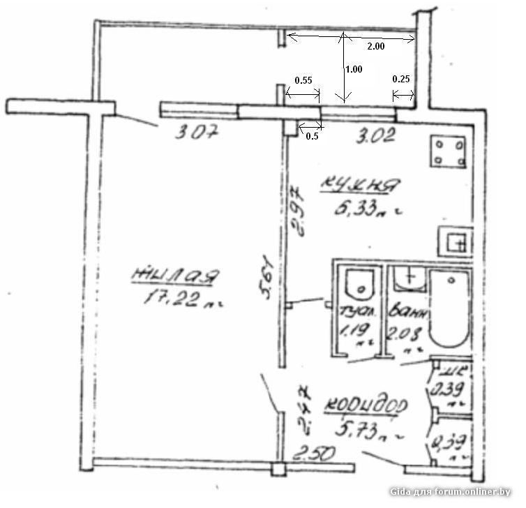 План 2 комнатной квартиры с