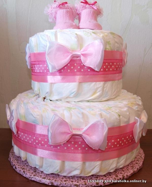 Торт из памперсов для девочек своими руками пошагово фото