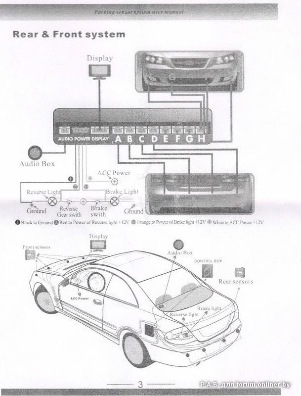 Схема подключения электропроводки парктроника AVS.
