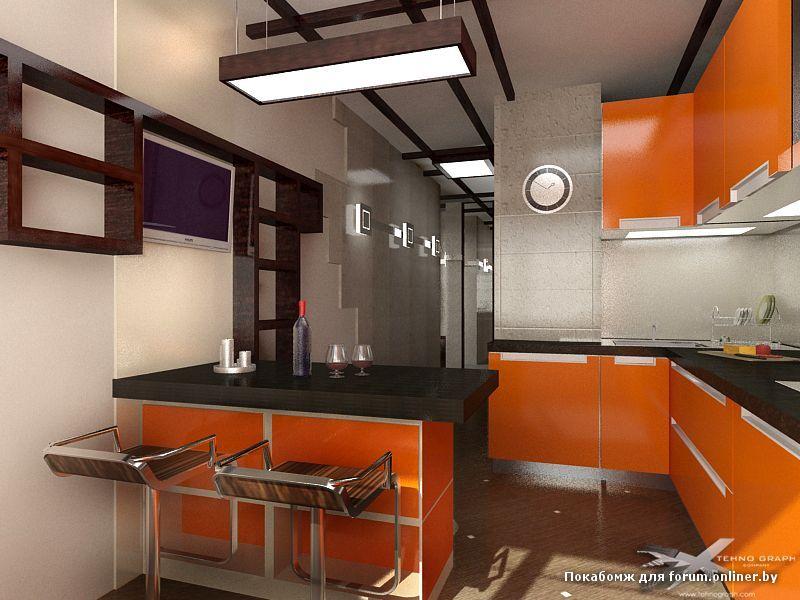 Дизайн кухни 12 кв м с барной стойкой и диваном.