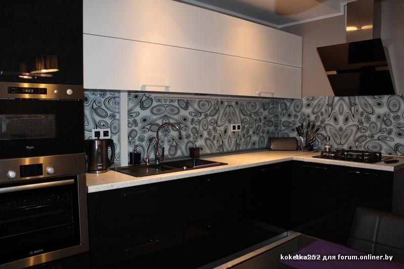 Кухни черно белые дизайн угловые