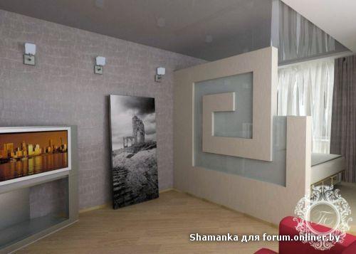 квадратная гостиная спальня.