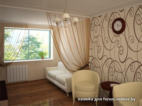 Интерьер узкой спальни с одним окном