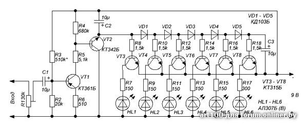 схема индикатора на выключателе