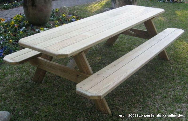 Стол со скамейками для дачи из дерева своими руками