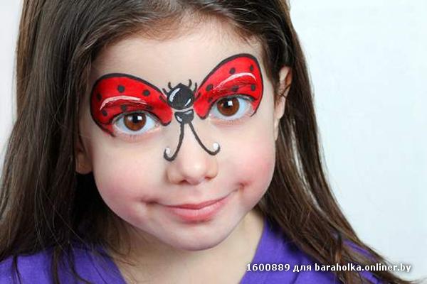Лёгкие рисунки на лице красками для лица