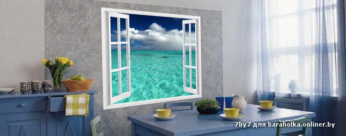 Фотообои в виде окна в интерьере
