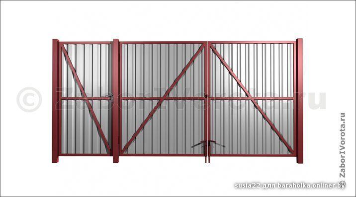 Ворота распашные с калиткой из профнастила своими руками чертежи - Dezobs.ru