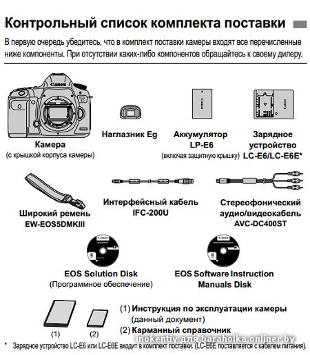 Комплект поставки Canon EOS 5D MarkIII