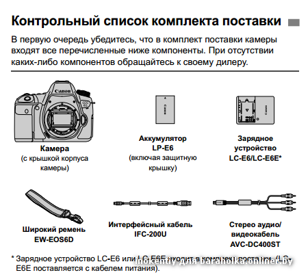 Комплект поставки Canon EOS 6D Mark II