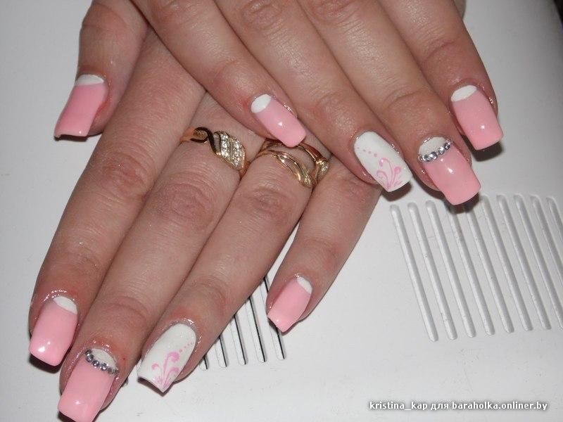 Фото нарощенных ногтей с рисунками квадратной формы