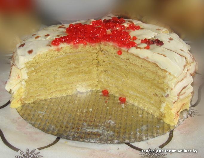 Блинный торт рецепт с икрой и