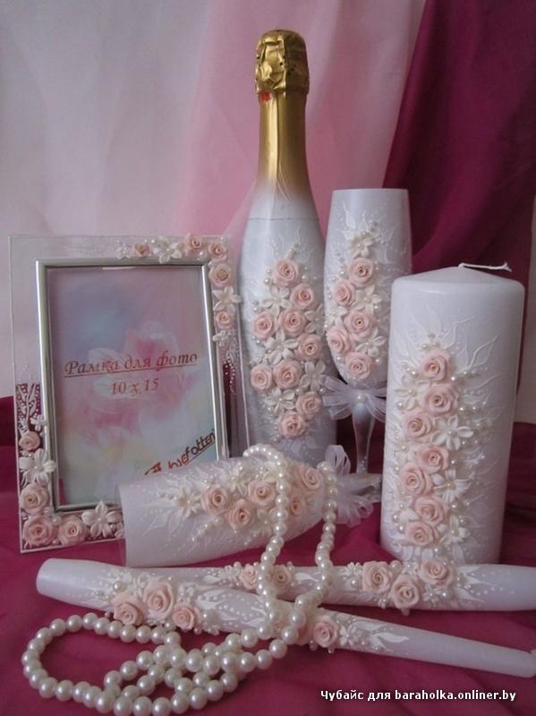 Украшаем бокалы и шампанское на свадьбу своими руками