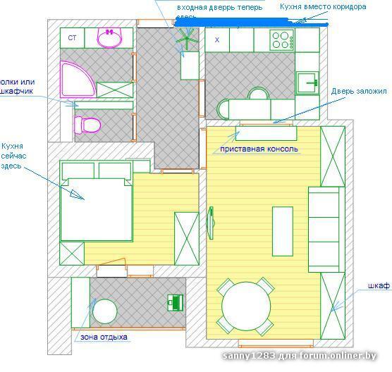 Как сделать жилую комнату из кухни