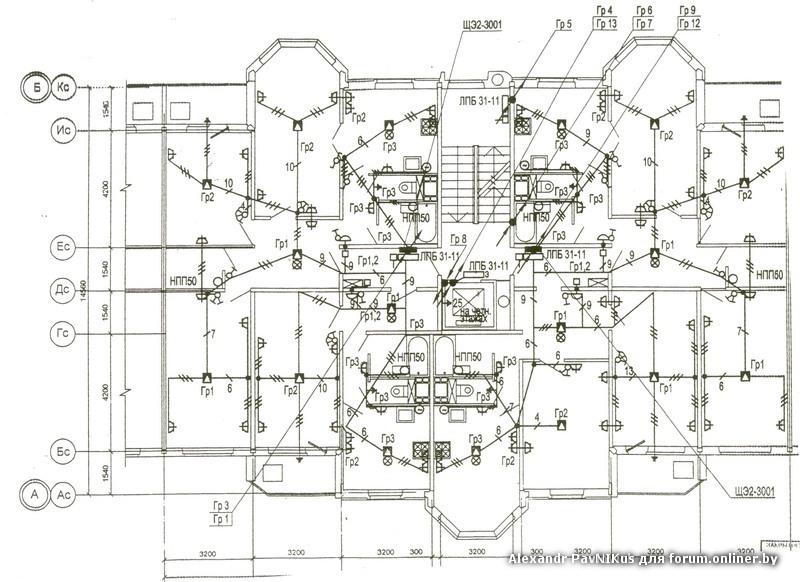 Схема разводки проводки.
