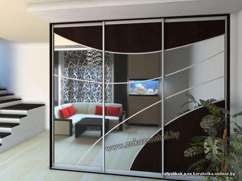 Шкаф купе дизайн с зеркальными дверьми