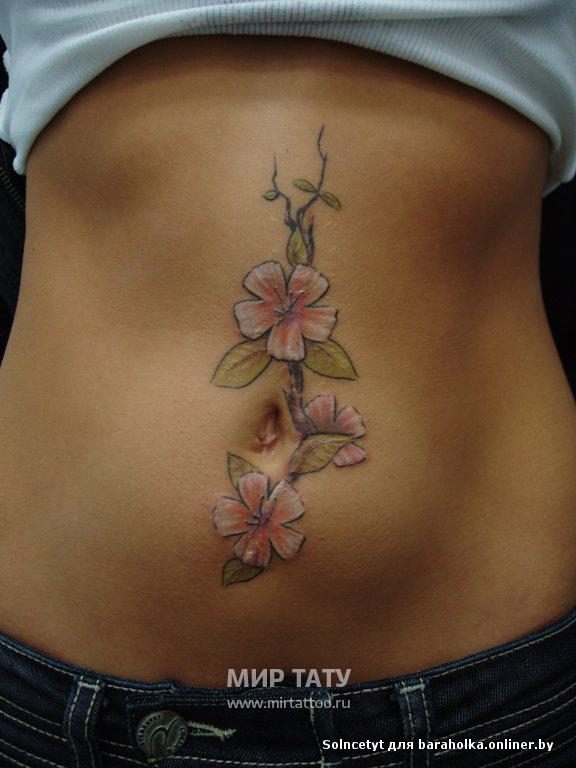 Сакура тату на шрамах татуировки