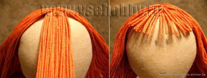 Как сделать волосы тряпичной кукле из ниток