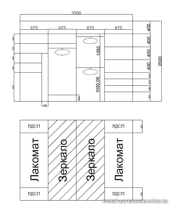 Шкафы купе  внутри размеры