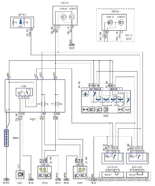 308 схема управления вентилятором охлаждения