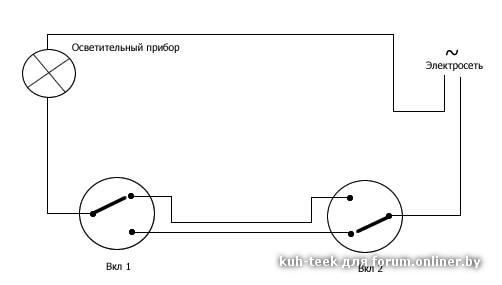Детали: 7 kb (500 x 300) Загружено: cot1.  Таги: схема проходного выключателя.