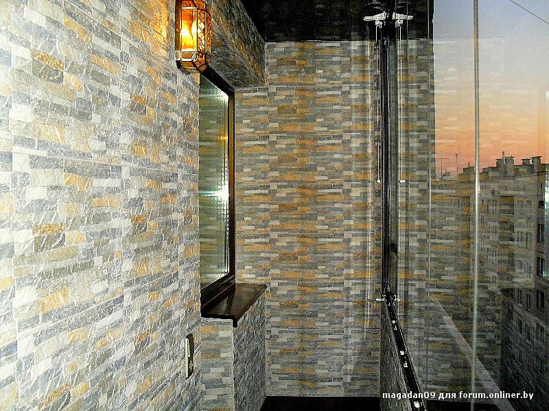 Как смотрится балкон отделанный искусственным камнем фото. -.