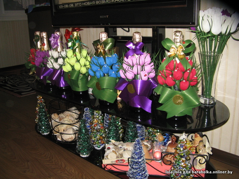 Подарки цветы из бутылок