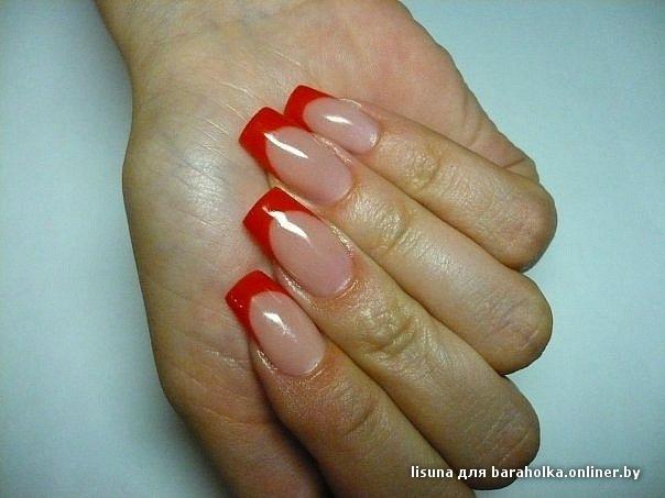 Дизайн красных нарощенных ногтей фото