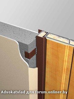 Крепление осуществляется через дверную коробку, при этом дверной блок целиком углублен в проем.  В петлевой.
