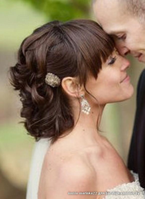 Прически для средней длины волос с челкой на свадьбу