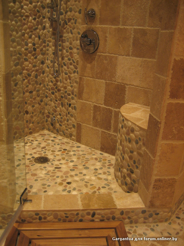 Stone tile shower floor