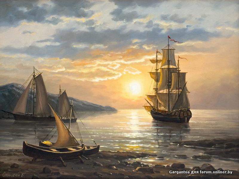 Живопись - морской пейзаж, купить картину морской рассветхудсминаев(1454)