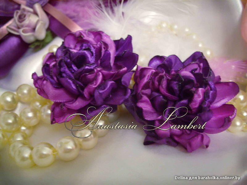 Цветок из атласной ленты своими руками на платье 9