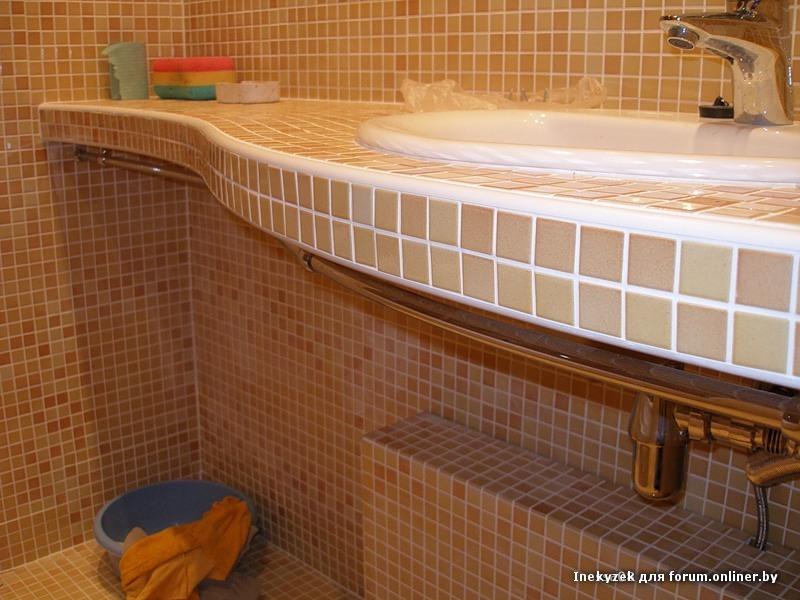 Полка в ванной под раковину своими руками 55