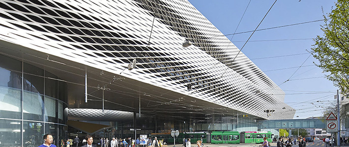 В Базеле открылся необычный выставочный комплекс с ажурными алюминиевыми фасадами