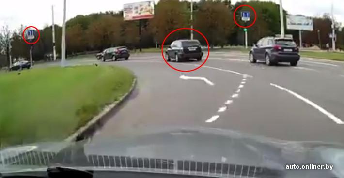 Если присмотреться, можно увидеть, что он также двигался параллельно автору видео.  То есть совершал поворот налево...