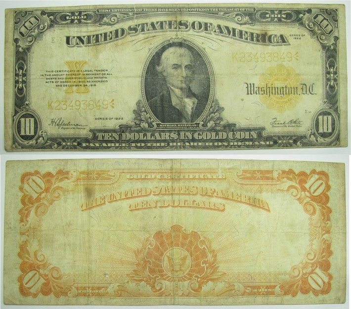 10 долларов с красным знаком