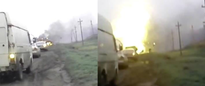 На слуцкой трассе загорелся УАЗ, перевозивший газовые баллоны, произошел взрыв