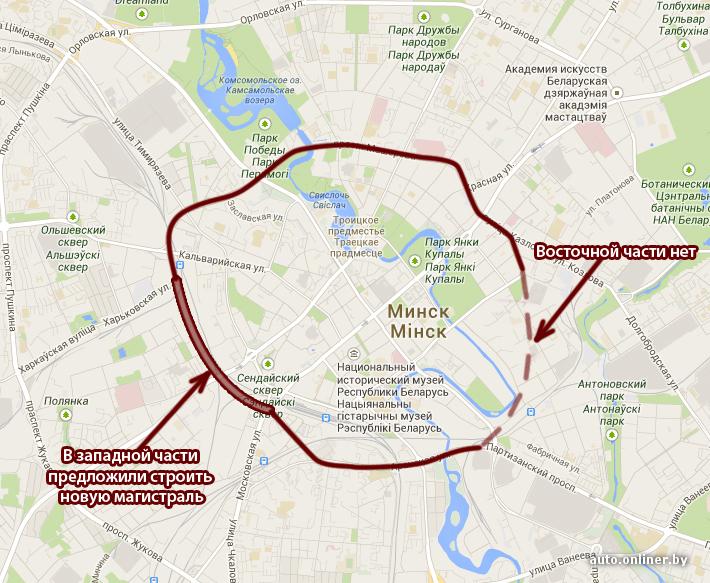 На карте Минска кольца