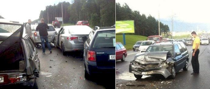 В серии столкновений на МКАД повреждены более 6 машин