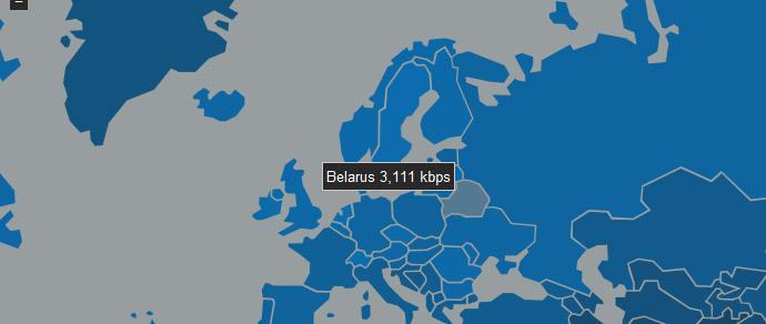 Средняя скорость интернета в мире достигла 4,6 Мбит/с, Беларусь среди отстающих