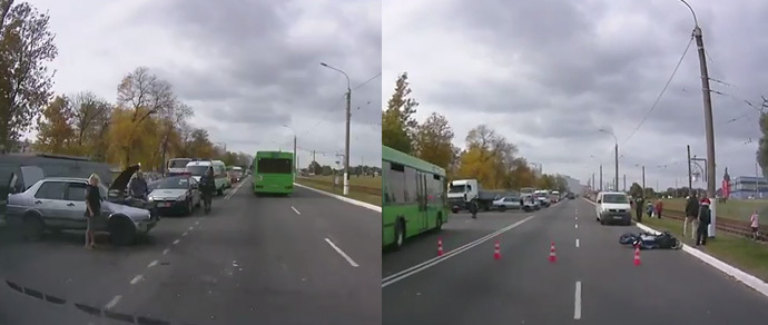 Очевидцы: в Мозыре девушка на Volkswagen не пропустила мотоциклиста