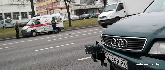 В Минске столкнулись Audi и машина скорой помощи