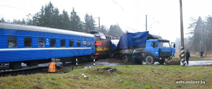 """Столкновение поезда Брест-Москва с грузовым автомобилем  """"МАЗ """" произошло на перегоне в Витебской области."""